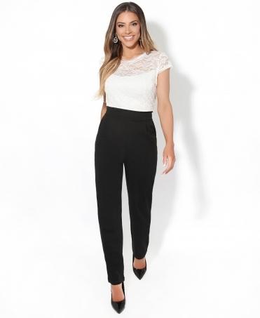 a5502a5778 Contrast Lace Cap Sleeve Jumpsuit