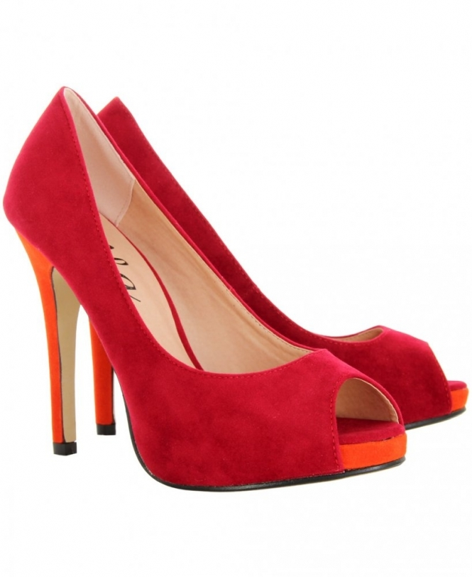 KRISP Contrast Red Open Toe High Heel - SHOES from Krisp Clothing UK