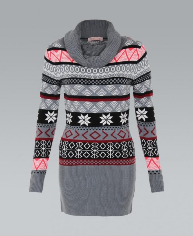 KRISP Cowl Neck Fairisle Tunic Jumper - WOMENS from Krisp Clothing UK