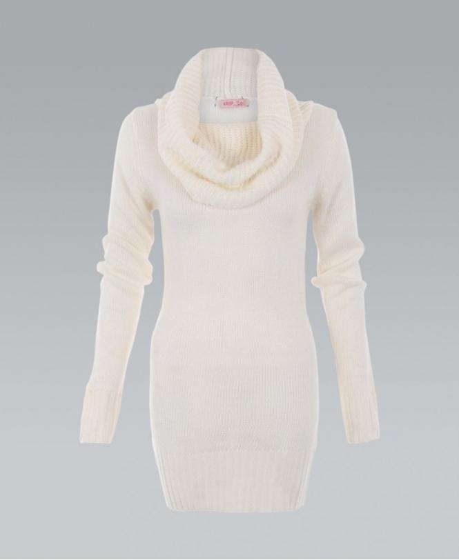 f09f8bc79f0a KRISP Cowl Neck Ribbed Chunky Knit Cream Jumper Dress - Womens from ...