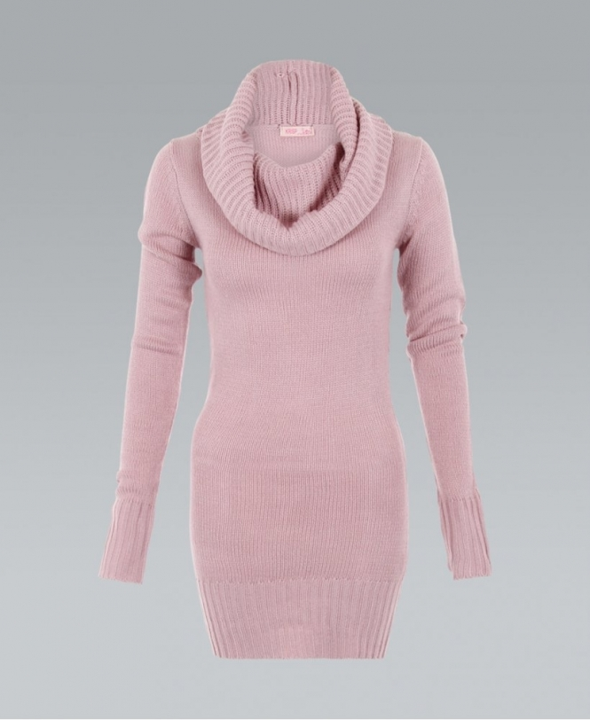 1a83a251ca31 KRISP Cowl Neck Ribbed Chunky Knit Pink Jumper Dress - Womens from ...