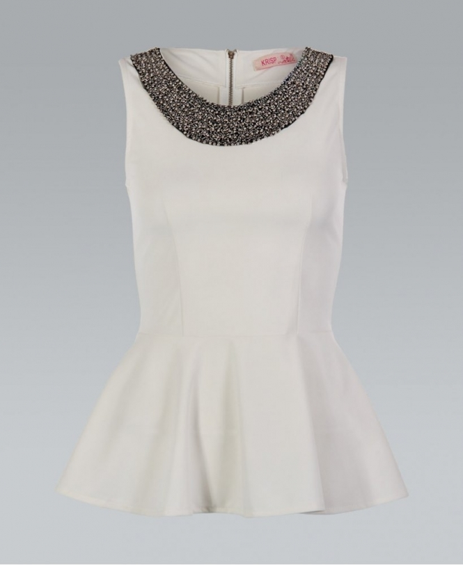 KRISP Cream Embellished Neckline Peplum Top