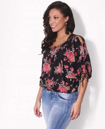 Crochet Back Floral Puffball Blouse