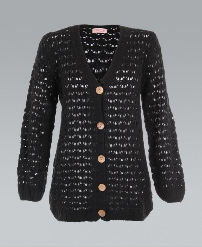 697da11cb4 KRISP Crochet Chunky Cable Knitted Boyfriend Black Cardigan - Womens ...