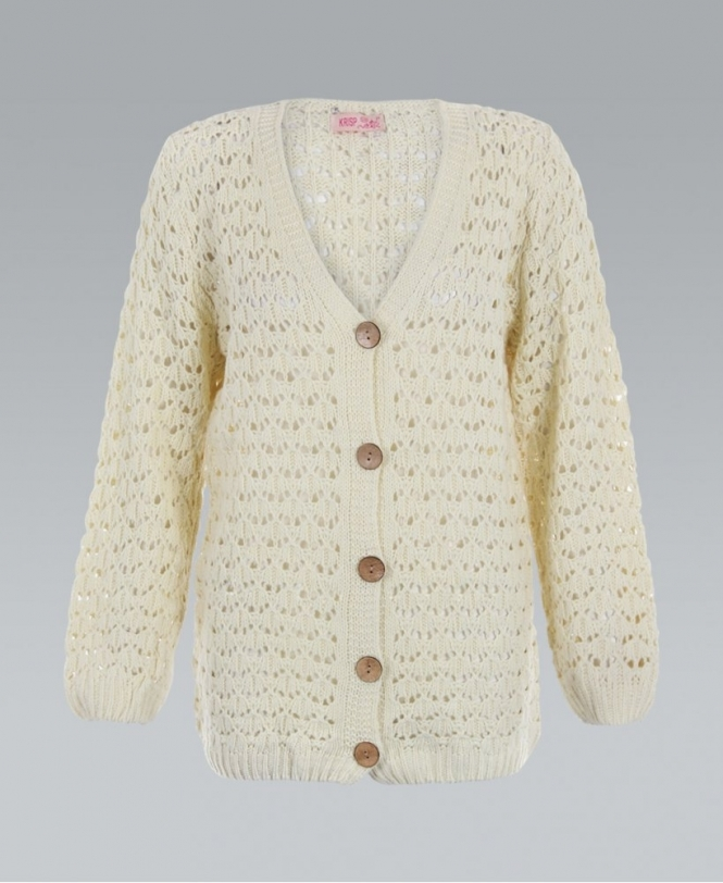 Crochet Chunky Cable Knitted Boyfriend Cream Cardigan