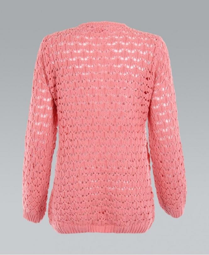 3e275d784b KRISP Crochet Chunky Cable Knitted Boyfriend Pink Cardigan - Womens ...