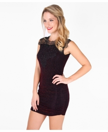 Crochet Front Lurex Bodycon Dress