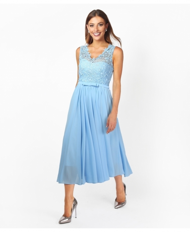 0848f35eb09 Crochet Lace Chiffon Prom Dress