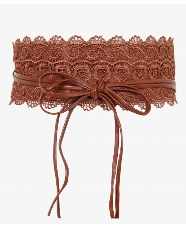 Crochet Lace PU Cinch Belt