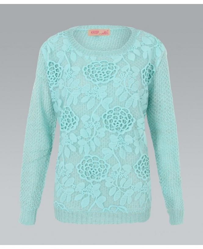 b210440b233 KRISP Crochet Mesh Front Knitted Jumper