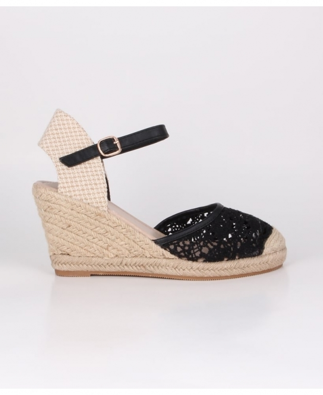 KRISP Crochet Wedge Espadrille Sandals