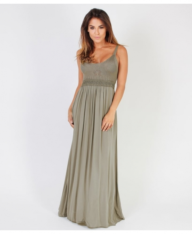 KRISP Crocheted Bustline Drape Maxi Dress