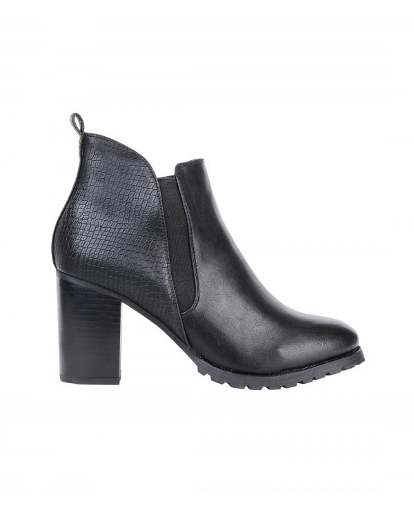 Crocodile Heel Chelsea Ankle Boots In Black