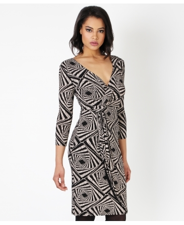 Cross Over Printed Midi Dress