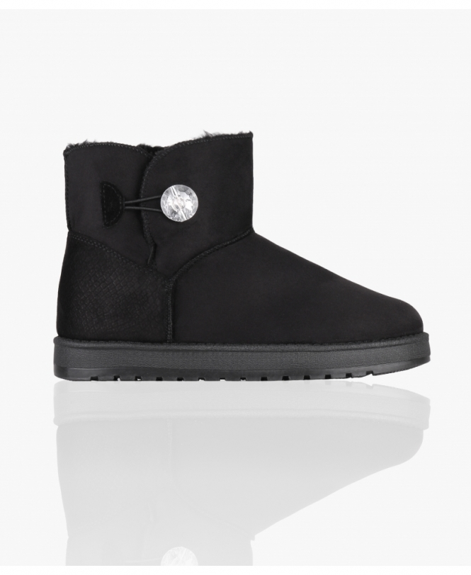 KRISP Crystal Button Snug Ankle Boots