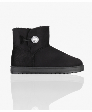 Crystal Button Snug Ankle Boots