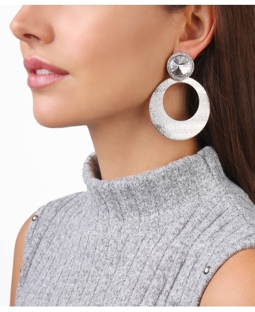 Crystal & Hoop Dangle Earrings