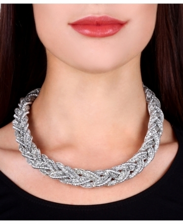 Crystal Plaited Choker Necklace