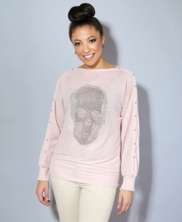 Crystal Skull Cut Sleeve Jumper