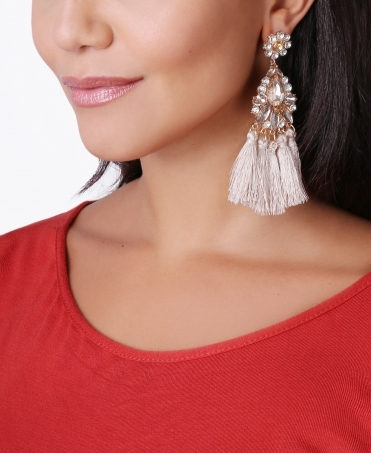 Crystal & Tassel Drop Earrings