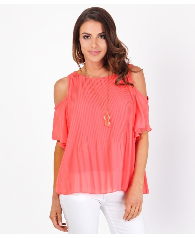 KRISP Cut Frill Shoulder Chiffon Blouse