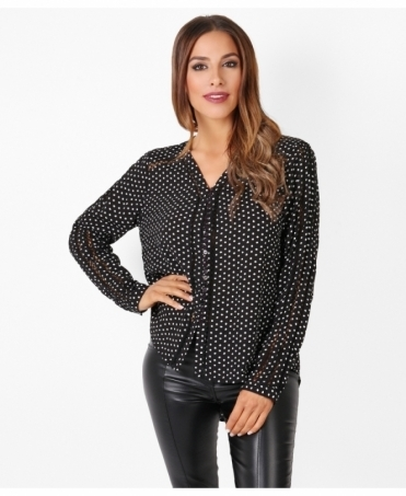 Cut Out Detail Spotted Shirt