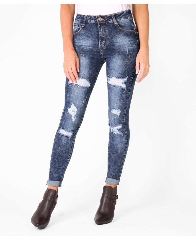 25c19919199 Dark Wash Ripped Skinny Jeans