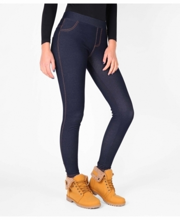 Denim Look Fur Lined Leggings