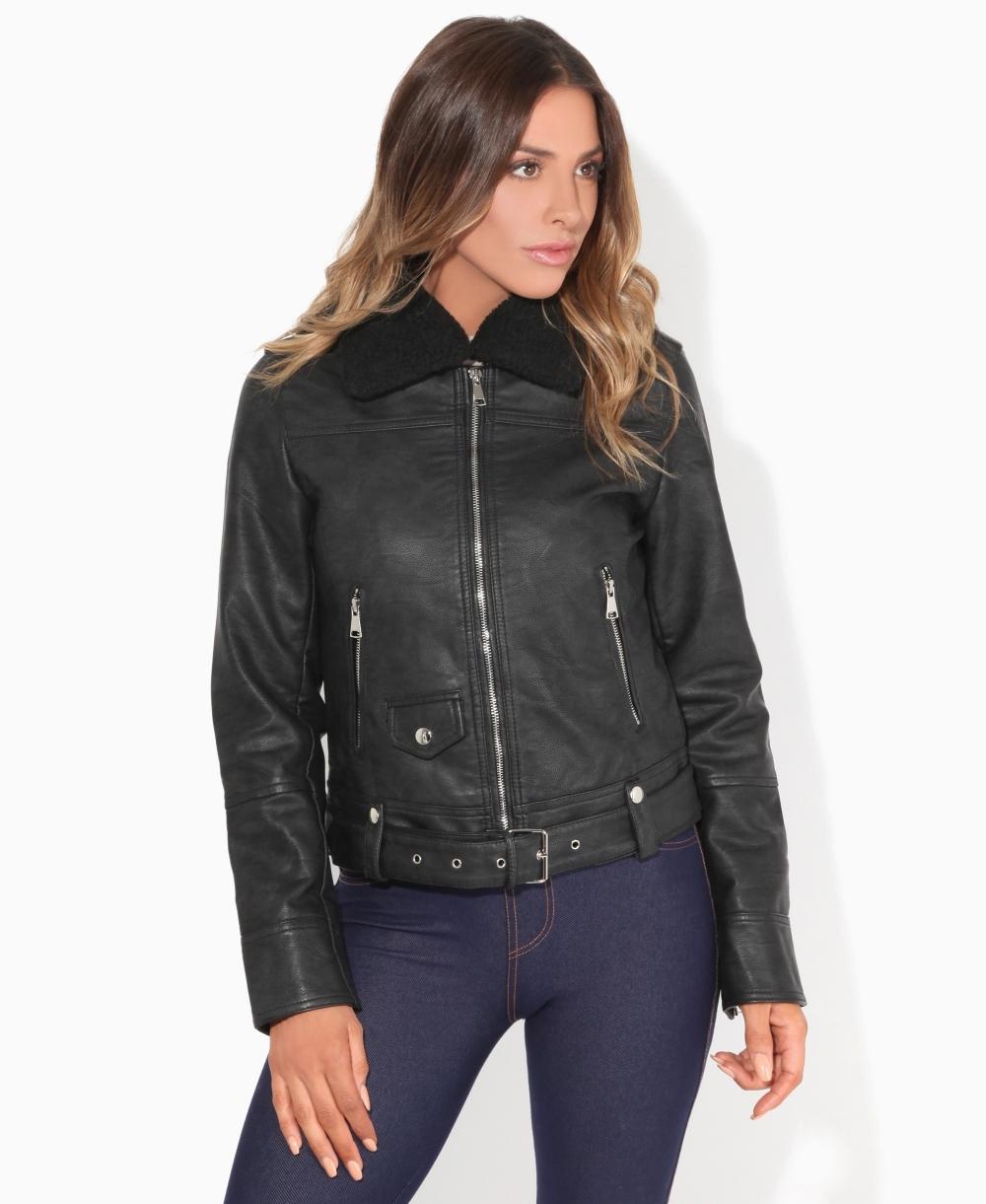 entire collection enjoy cheap price outlet boutique Detachable Collar PU Aviator Jacket