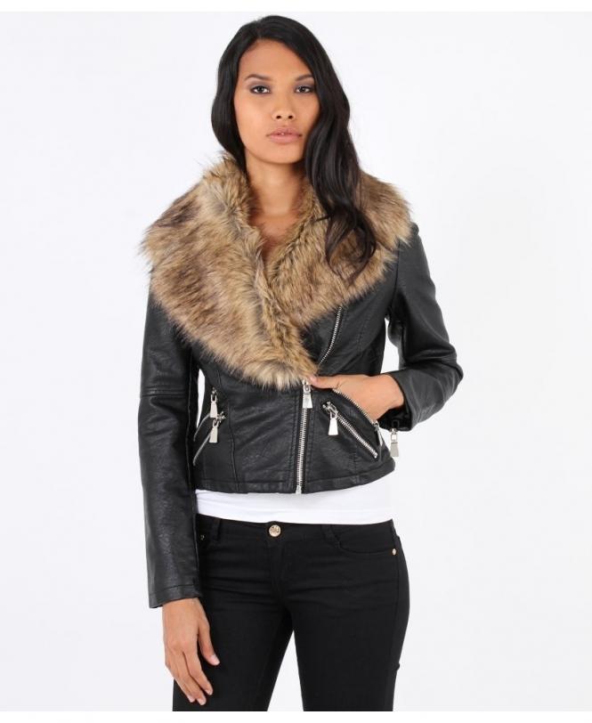 vast selection premium selection info for KRISP Detachable Fur Collar Crop Biker Jacket