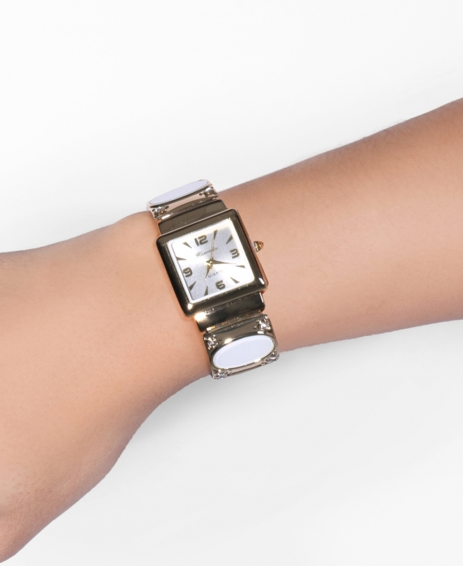 KRISP Detailed Bangle Square Face Watch