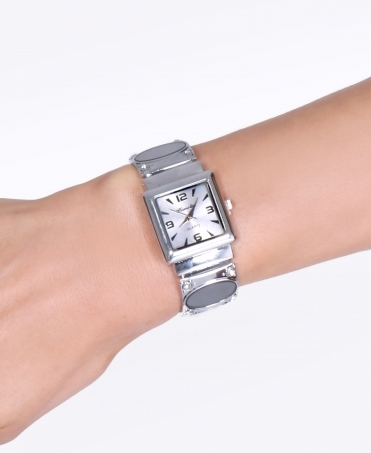 Detailed Bangle Square Face Watch