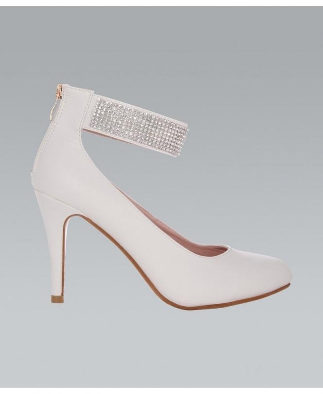 KRISP Diamante Ankle Strap Pointed