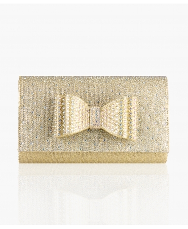 Diamante Bow Flap Clutch Bag