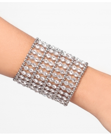 Diamante Elastic Statement Cuff Bracelet