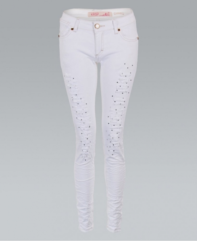 krisp diamante front ripped white skinny jeans womens