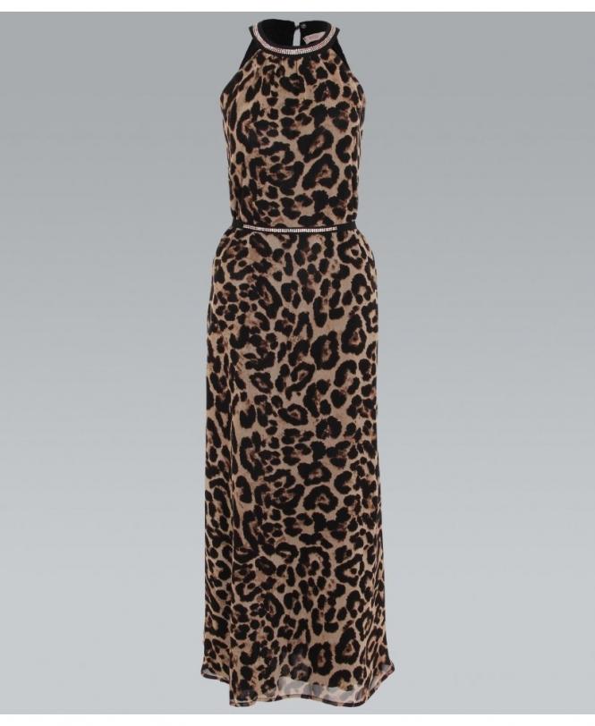 90e9235d209 KRISP Diamante Neck Leopard Print Maxi Dress