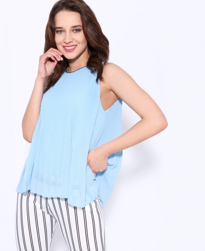 KRISP Diamante Neck Pleated Chiffon Vest Top