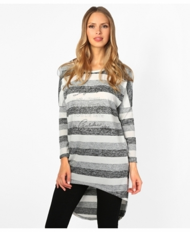 Diamante Print Striped Top