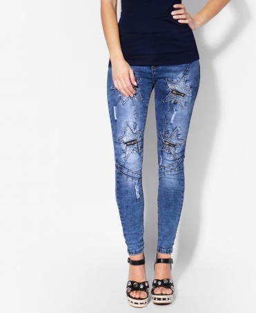 Diamante Star & Zip Leg Skinny Jeans