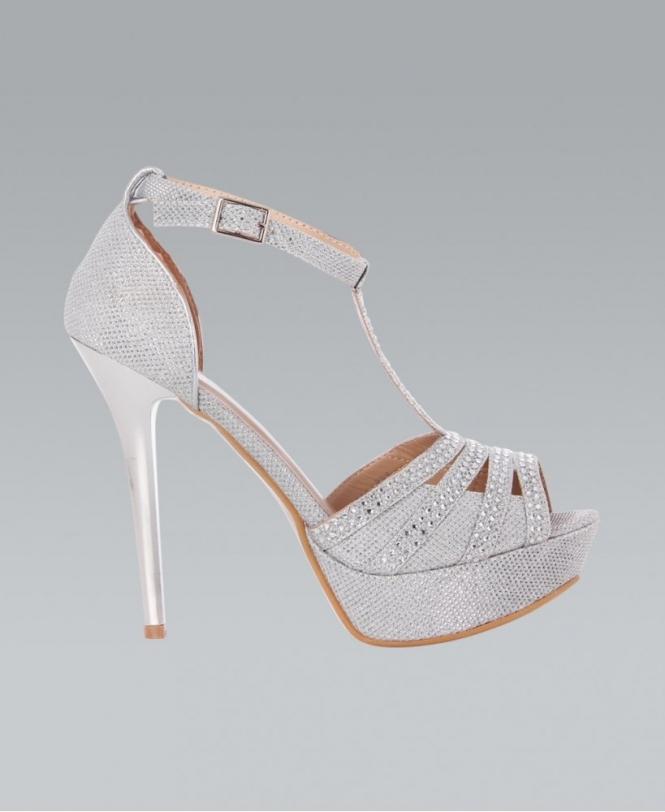 923cc423f09 KRISP Diamante Studded Spiral T-Bar Silver Heels