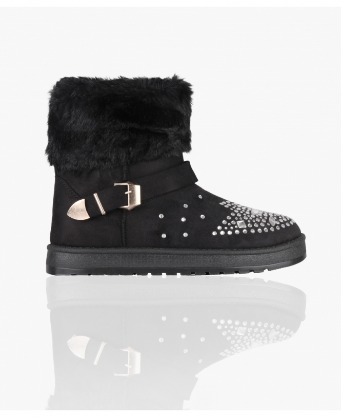 KRISP Diamante Toe Snug Ankle Boots