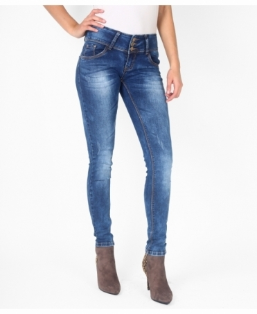 Distressed 3 Button Skinny Jeans