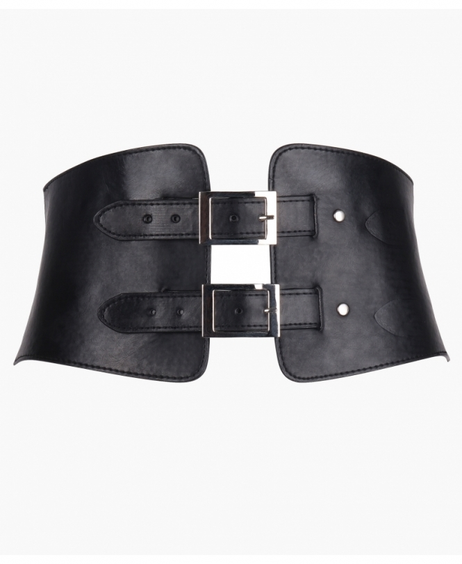 KRISP Double Buckle Corset PU Belt
