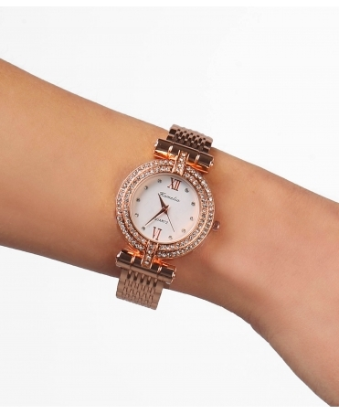Double Diamante Row Edge Watch
