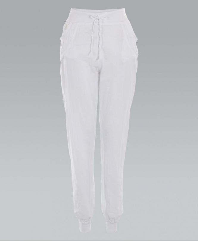 d23fcfc11ce21 KRISP Drawstring Waist Cuffed White Linen Trousers - Womens from ...