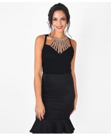 Embellished Cage Neck Body