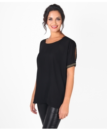Embellished Cut Out Sleeve Tunic