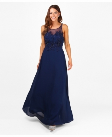 Embroidered Front Prom Maxi Dress