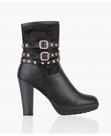 Embroidered Heeled Calf Boots